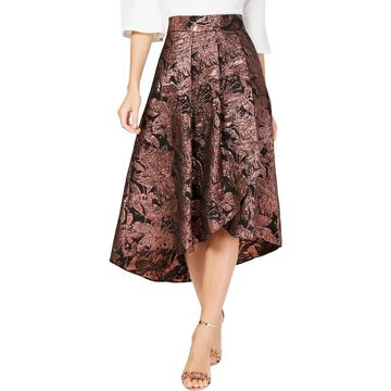 Alex Evenings Womens Midi Skirt Metallic Floral Print