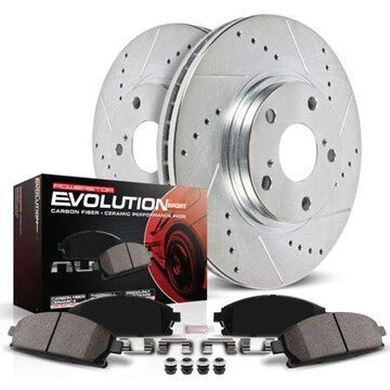 Power Stop Front Brake Kit with Drilled & Slotted Rotors and Ceramic Brake Pads K5118