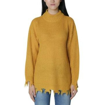 No Comment Juniors' Destructed Mock-Neck Tunic Sweater