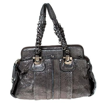 Chloe Silver Leather Heloise Satchel