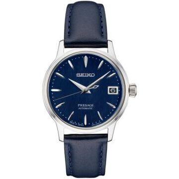 Seiko Women's Automatic Presage Blue Leather Strap Watch 34mm