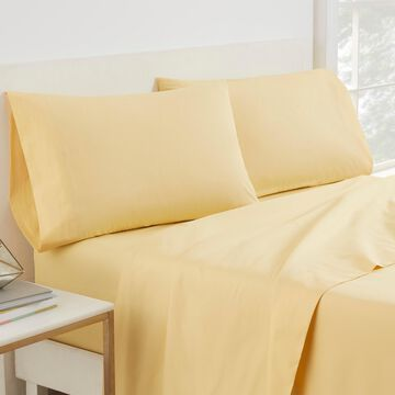 Martex Color Solutions Solid Cotton Sheet Set, Bright Yellow, King