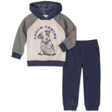 Kids Headquarters Toddler Boys 2-Pc. Blue Dog Fleece Hoodie & Blue Heathered Fleece Pants Set