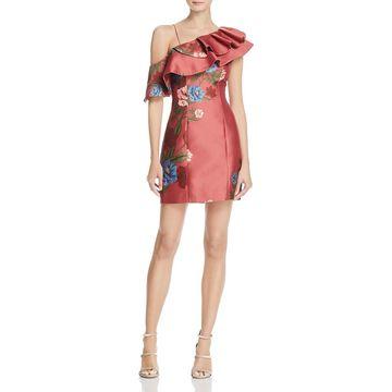 Keepsake Womens Floral Print One Shoulder Party Dress