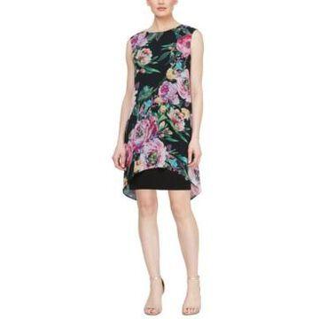 Sl Fashions Floral-Print Cape-Overlay Shift Dress