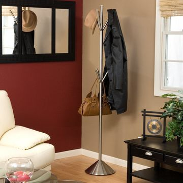 Adesso Pegs Stainless Steel Standing Coat Rack