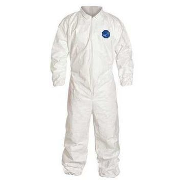 DUPONT TY125SWHLG0025NF Collared Disposable Coveralls , L , White , Tyvek(R)