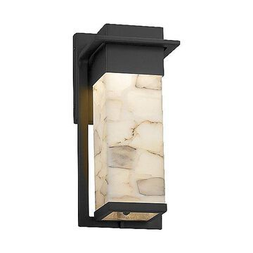 Justice Design Group Alabaster Rocks Pacific Outdoor Wall Sconce - Color: Black - Size: Small - ALR-7541W-MBLK