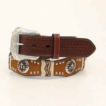 Nocona N2504402-34 Three Cross Concho Scallop Belt, Brown - Size 34