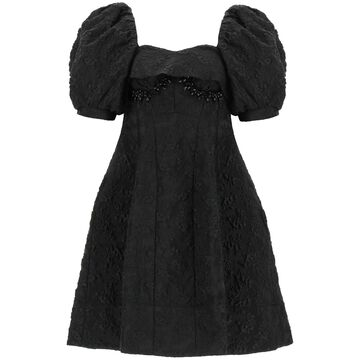 SIMONE ROCHA JACQUARD CLOQUE' MINI DRESS 8 Black