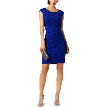 Connected Apparel Womens Sheath Dress Lace Sequined