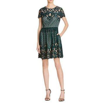 Eliza J Womens Lace Short Sleeves Casual Dress