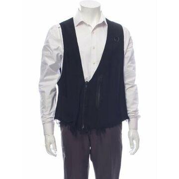 Fringe Trim Accent Suit Vest Black