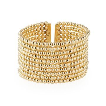 Beaded 10-Row Cuff Bracelet, Golden