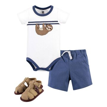 Hudson Baby Boys' Infant Bodysuits Sloth - White & Blue Sloth Short-Sleeve Bodysuit Set - Infant