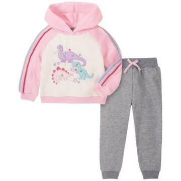 Kids Headquarters Little Girl 2-Piece Sleeve and Hood Fleece Top with Fleece Pant Set