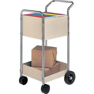 Fellowes, FEL40924, Steel Mini Mail Cart, 1 Each, Dove Gray,Chrome