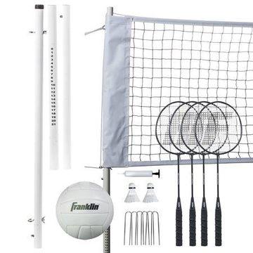 Franklin Sports Volleyball and Badminton Professional Set - Volleyball, Pump, Badminton Rackets, Birdies, Net, and Adjustable Polls - Beach or Backyard Setup