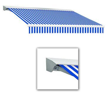 Awntech Destin 192-in Wide x 120-in Projection Bright Blue/White Striped Motorized Retractable Patio Awning | DTR16-L-BBW
