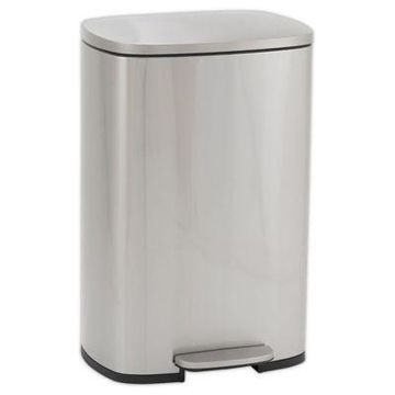 Household Essentials 30-Liter Stainless Steel Rectangular Step Trash Can
