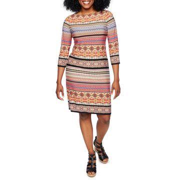 London Times 3/4 Sleeve Striped Shift Dress-Petite