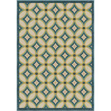 Orian Rugs Grezzana 8 x 11 Multi Indoor/Outdoor Geometric Coastal Area Rug in Blue