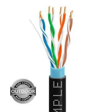 1338-N Cat5e Outdoor Bulk Ethernet LAN Network Cable 350MHz Bare Copper, 1000 ft. - Black