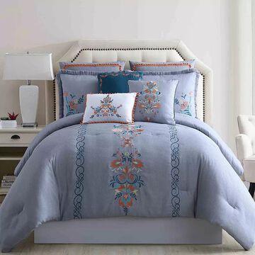 Pacific Coast 8-Piece Embellished Comforter Set - Frida, Grey, King
