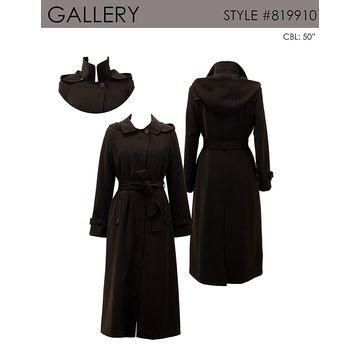 Gallery Women's Dressy Full Length Belted Fly Front Hooded
