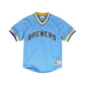 Men's Milwaukee Brewers Mesh V-Neck Jersey