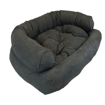 Snoozer Luxury Micro Suede Overstuffed Pet Sofa in Anthracite