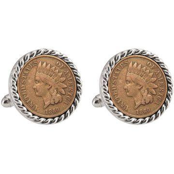 American Coin Treasures LSU 1860 Silvertone Rope Bezel Penny Cuff Links