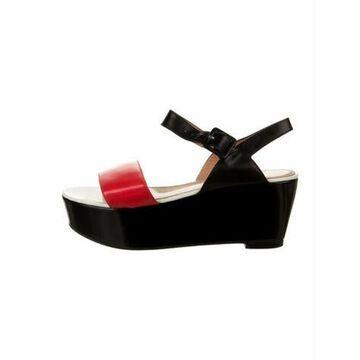 Leather Printed Slingback Sandals Black