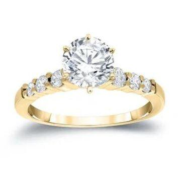 Auriya 14k Gold 1 1/3ctw Round Moissanite Engagement Ring