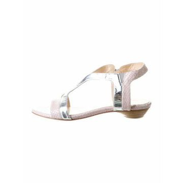 Embossed Leather T-Strap Sandals Pink
