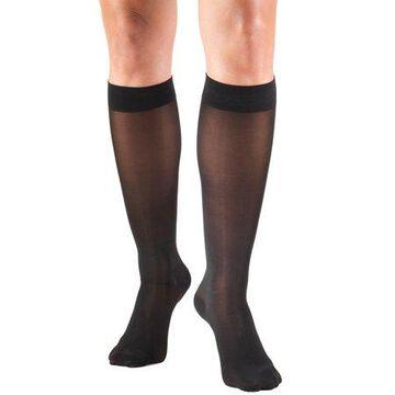 Truform Women's Stockings, Knee High, Sheer: 30-40 mmHg, Black, Large