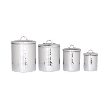 Old Dutch International 4-pc. Hammered Stainless Steel Canister Set