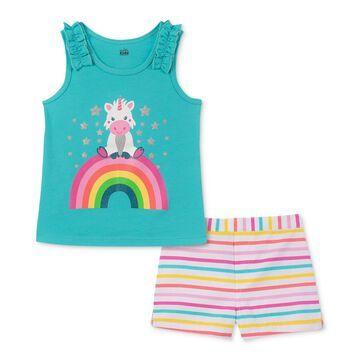 Little Girls 2-Pc. Tank Top & Striped Shorts Set