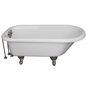 Barclay 30-in W x 60-in L White Acrylic Oval Back Center Drain Clawfoot Soaking Bathtub and Faucet Included   TKADTR60-WBN3