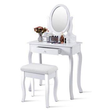 Costway White Vanity Table Jewelry Makeup Desk Bench Dresser bathroom w/ Stool