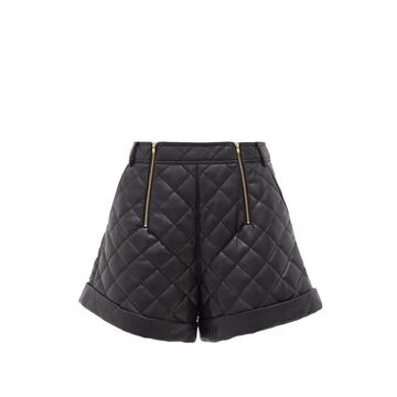 Self-portrait - High-rise Quilted Faux-leather Shorts - Womens - Black