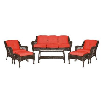 Jeco W61-FS018 6Pc Wicker Seating Set With Red Cushions