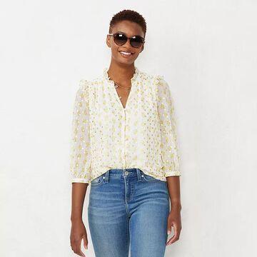 Women's LC Lauren Conrad Button Front Ruffle Blouse, Size: XXL, Natural