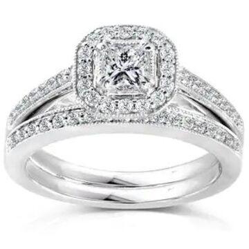 Annello by Kobelli 14k Gold 5/8ct TDW Princess Diamond Halo Bridal Ring Set (8.5 - White)