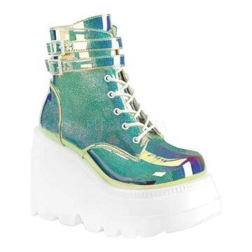 Demonia Women's Shaker 52 Ankle Boot UV Green Shifting Glitter Vegan Leather