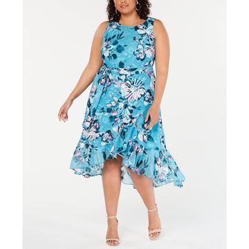 Plus Size Floral-Print Ruffled Dress