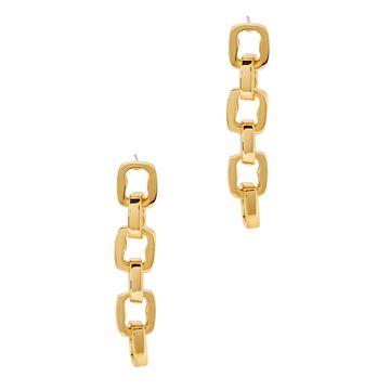 Gold-tone link drop earrings