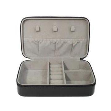 Royce Leather Luxury 4-slot Jewelry Display Storage Case (Black)