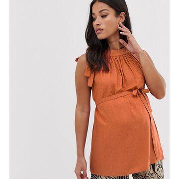 Mamalicious maternity high neck jacquard sleeveless top-Orange