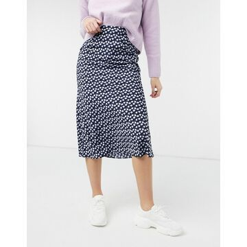 Glamorous midi skirt in purple ditsy floral